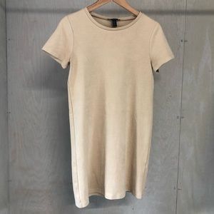 Forever 21 Faux Suede Tan Dress Short Sleeve
